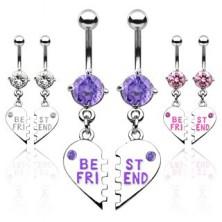 Dvojitý piercing do pupku zlomené srdce BEST FRIEND