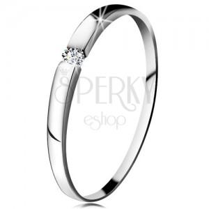 Zásnubný prsteň z bieleho 14K zlata - zirkón čírej farby, jemne vypuklé ramená