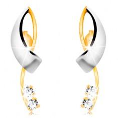 Zlaté náušnice 585 - prekrížené dvojfarebné línie, dva číre zirkóny