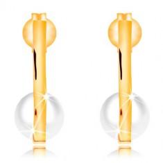 cbdc34a7b Šperky eshop - Zlaté náušnice 585 - úzky zvislý pásik, biela perla v  zahnutej spodnej časti GG16.22 e-shop >>
