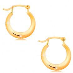 Zlaté náušnice 585 - malé lesklé krúžky, zaoblený lesklý povrch