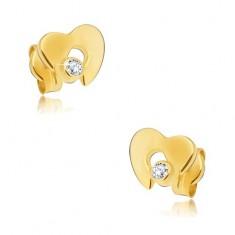 Diamantové zlaté náušnice 585 - lesklé srdce s výrezom a čírym briliantom