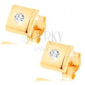 Náušnice zo žltého 14K zlata - lesklý štvorec s diamantom čírej farby
