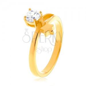Oceľový prsteň zlatej farby, hviezda a okrúhly číry zirkón