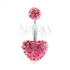 Oceľový piercing do brucha, gulička a srdce, ružové trblietavé zirkóny