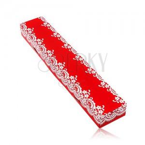 Darčeková červená krabička na retiazku alebo náramok, vzor bielej čipky