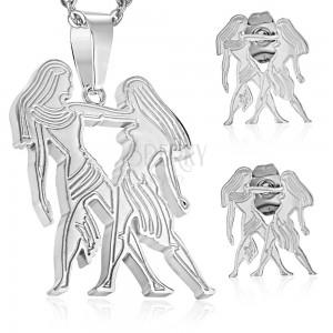 Set z chirurgickej ocele v striebornom odtieni, prívesok a náušnice, znamenie BLÍŽENCI
