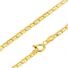 Zlatá retiazka 585 - malé ploché lesklé očká predelené paličkou, 450 mm