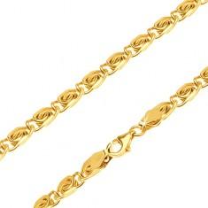 Retiazka zo žltého 14K zlata - malé články s esíčkovým motívom, 600 mm