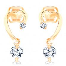 Diamantové zlaté náušnice 585 - neúplný obrys srdca, dva ligotavé brilianty
