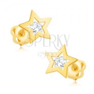 Briliantové náušnice zo žltého 14K zlata - obrys hviezdičky, číry diamant