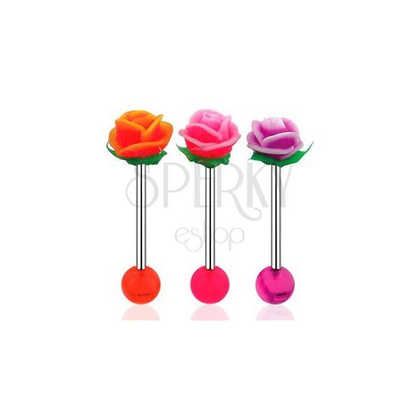 Piercing do jazyka, činka z ocele 316L, akrylová gulička a UV ružička