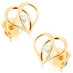 Diamantové náušnice zo zlata 585 - kontúra srdca s briliantom