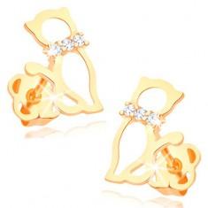 Náušnice v žltom 14K zlate - obrys mačky s diamantovým obojkom