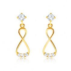2b597c531 Šperky eshop - Briliantové zlaté náušnice 585 - visiaca osmička, číre  diamanty BT502.03
