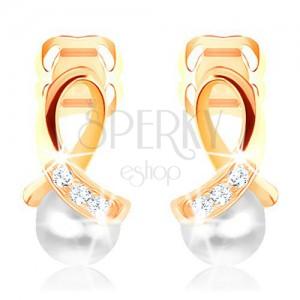 Náušnice v žltom 14K zlate - lesklá slučka zdobená diamantmi, guľatá perla