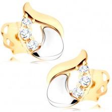 Diamantové náušnice - lesklá slza zo 14K bieleho a žltého zlata, tri číre brilianty