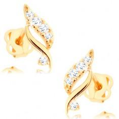 Šperky eshop - Náušnice zo žltého 14K zlata - trblietavý lístok s čírymi briliantmi BT502.08
