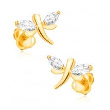 Náušnice v žltom 14K zlate - ligotavé vážky, zrniečkové diamanty na krídlach