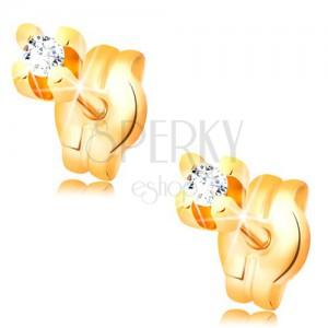 Diamantové náušnice v žltom 14K zlate - okrúhly briliant čírej farby, 1,5 mm