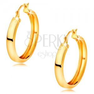 Náušnice v žltom 14K zlate - kruhy s lesklým hladkým povrchom, 18 mm