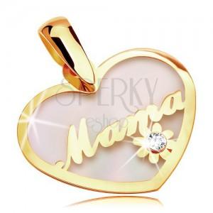 Prívesok zo žltého 14K zlata - perleťové srdce s nápisom Mama a kvietkom