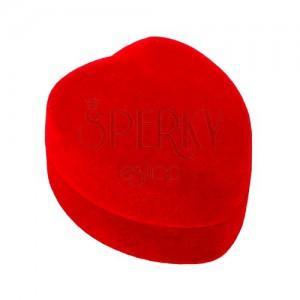 Srdiečková krabička na prsteň alebo náušnice - červený zamatový povrch