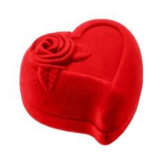 Šperky eshop - Darčeková krabička na dva prstene alebo náušnice, červené srdce s ružou Y08.05