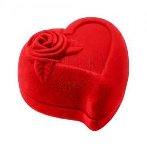 Darčeková krabička na dva prstene alebo náušnice, červené srdce s ružou
