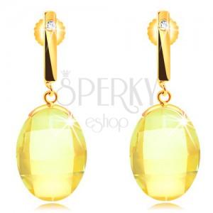 Náušnice v žltom 14K zlate - úzka palička so zirkónom, brúsený žltý ovál