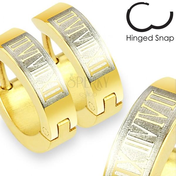 Náušnice z ocele 316L - krúžky v zlatom odtieni, obdĺžnik a rímske číslice