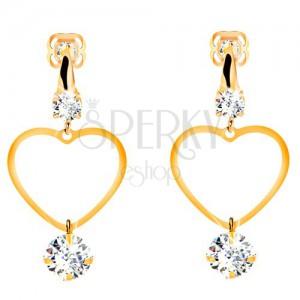 Zlaté 14K náušnice - tenký obrys súmerného srdca, visiaci číry zirkón