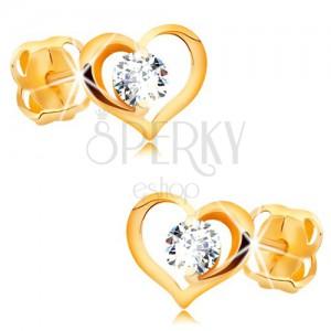 Briliantové náušnice zo žltého 14K zlata - číry diamant v obryse srdca