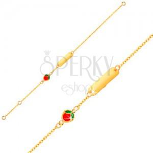 Náramok zo žltého 9K zlata - lesklá platnička, glazúrované jabĺčko, retiazka