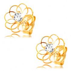 Šperky eshop - Diamantové náušnice zo žltého 14K zlata - kontúra kvietku s briliantom BT501.86