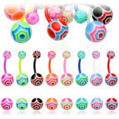 Šperky eshop - Piercing do pupka - UV farebná gulička N1.5 - Farba piercing: Aqua - - QG