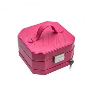 Ružová koženková šperkovnica 2 v 1, lesklá kovová pracka