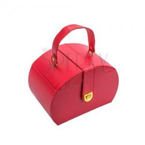 Kufríková červená šperkovnica, kovové detaily zlatej farby, umelá koža