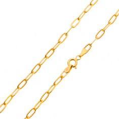 Retiazka v žltom 14K zlate - hladké a vrúbkované väčšie oválne očká 5ba4d47cf9d