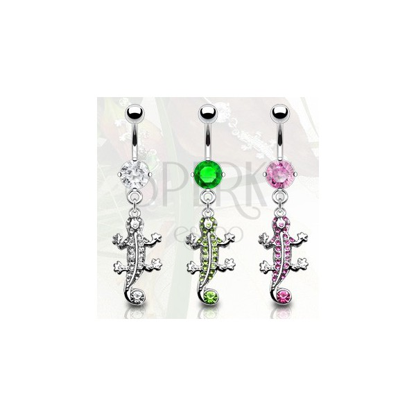 Piercing do pupku jašterička so zirkónmi