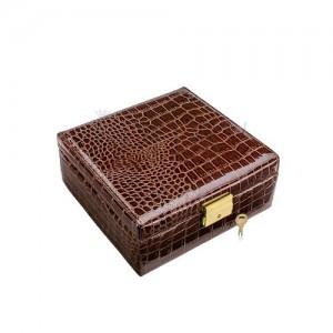 Kufríková šperkovnica na hodinky, imitácia lesklej hnedej krokodílej kože