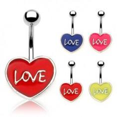 Šperky eshop - Piercing do pupku LOVE N21.7 - Farba piercing: Červená