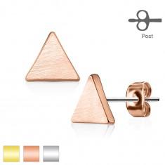 Šperky eshop - Puzetové náušnice z ocele 316L, plochý trojuholník, matný hladký povrch W07.10/12 - Farba: Zlatá