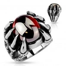 Mohutný prsteň z ocele 316L, oválny tmavočervený zirkón v pazúroch