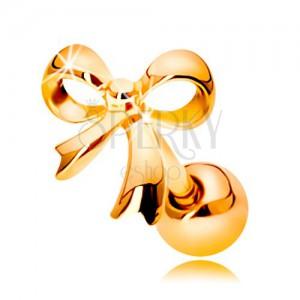 Piercing do ucha v žltom 14K zlate - lesklá uviazaná mašlička