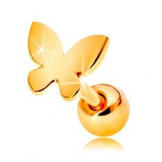 Šperky eshop - Zlatý 585 piercing do ucha - malý plochý motýlik s lesklým povrchom GG204.13