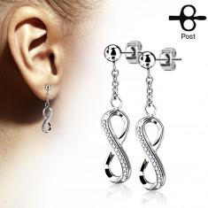 fbebf3107 Šperky eshop - Náušnice z chirurgickej ocele, lesklý symbol nekonečna  zdobený zirkónmi AB05.08