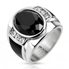 Oceľový prsteň s čiernym brúseným oválom, čírymi zirkónmi a čiernymi pásmi