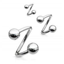 Oceľový piercing do obočia - špirála striebornej farby s guličkou, 1,6 mm