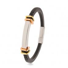 Náramok z čiernej gumy, hladká oceľová známka, štvorce zlatej a medenej farby
